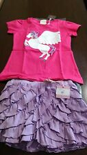 NWT Lemon Loves Lime Pink Pegasus shirt & lavender ruffle shorts size 10 set