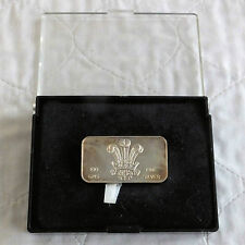 1969 PRINCE OF WALES INVESTITURE 100gr .999 FINE SILVER PROOF INGOT- boxed