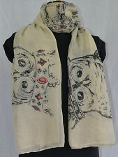 ladies large scarf owl print cream shawl wrap sarong beach quality rrp £12.95!