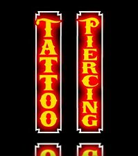 New LED COMBO Tattoo & Piercing Parlor Vertical Orange Signs Light Box Neon Alt