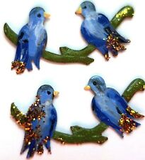 #1438E Vintage Bird Birds Findings Stampings Hand painted NOS Components Brass