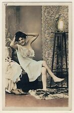 PRETTY WOMAN IN NEGLIGEE WAITING AT BOUDOIR * Vintage 10s French Risque Photo PC