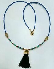Afghan Natural Lapis, Garnet, Malachite & Fabric Tassel Tiny Seed Beads Necklace