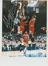 JOHN STARKS SIGNED 8X10 PHOTO DUNK OVER MICHAEL JORDAN AUTOGRAPH STEINER CERT