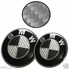 2pcs 82+74mm BMW Carbon Black White emblem set hood trunk e46 e60 e61 e90 e91