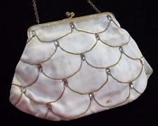 VINTAGE 1950's CREAM SATIN, RHINESTONE & GILT FRAMED EVENING PURSE HANDBAG