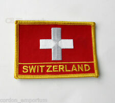 SWISS SWITZERLAND EMBROIDERED WORLD FLAG EMBLEM RECTANGLE PATCH 3 INCHES