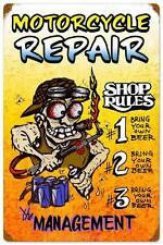 Motorcycle Body Shop Rules Metal Sign Man Cave Garage Club Wall Decor MLK115