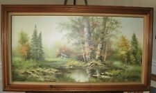 H Wilson  Oil on Canvas Painting Signed and Beautifully Framed 56x32