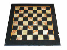 """24"""" Black Marble Side Coffee Chess Table Top Mosaic Inlay Marquetry Home Decor"""