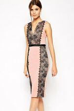 Lace Paneled Body Conscious Midi Dress Pink Medium
