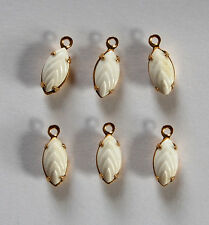VINTAGE 6 NAVETTE PENDANT BEADS BRASS SETTING CHALK WHITE CASCADE GLASS 5 X 9mm
