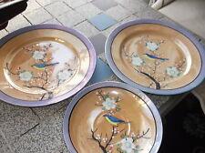 Vintage oriental chine gras peinte à la main oiseau pêche bleu lustre soucoupe & 2 plaques