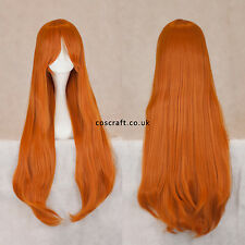 80cm long straight cosplay wig with fringe in strawberry blonde ginger, Alex