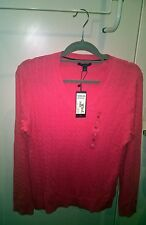 Tommy Hilfiger Women's Pink Sweater Cable Knit V-Neck Jumper Cotton Size XL BNWT