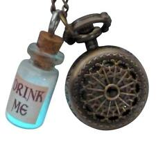 Alice in Wonderland pocket watch drink me charm necklace Glow in the dark Fairy