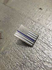Subdued Silver Thin Blue Line American Flag Lapel Pin