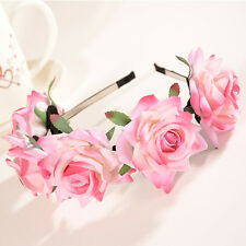 Pink Floral Crown Rose Flower Headband Hairband Wedding Hair Garland Headpiece