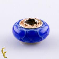 Pandora 14k Yellow Gold Murano Glass Blue Lotus Charm #750506 Retired!