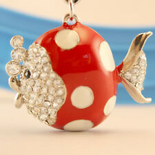 Red Pulka Dot Fish Crystal Keyring Charm Purse Ring Chain Keychain Gift 01037