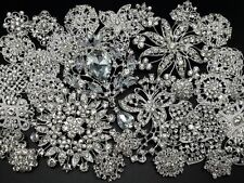 Lot 30 pc Mixed Alloy Sliver Rhinestone Crystal Brooch DIY Wedding Bouquet