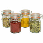 Set Of 4 New Glass Metal Clip Top Airtight Vintage Spice Herb Storage Sweet Jar