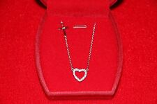 "925 Italy Sterling Silver SideWay Cross Pendant with Heart 16""-18""Necklace"