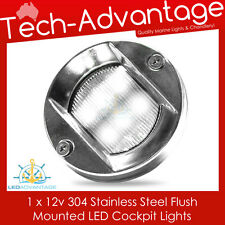 12V STAINLESS STEEL FLUSH MOUNTED CABIN COCKPIT TRANSOM BOAT YACHT LED LIGHT