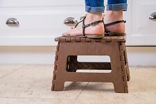 Hometropics  Folding Step Stool for Kids and Adults 9 Inch Height Brown