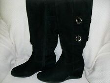 Boots, Antonio Melani, Solid Black Suede-Leather Boots for Ladies, 7.5