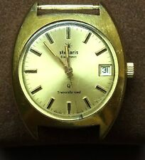 Vintage Stellaris Electronic Transistorized Swiss Men's Watch Runs Great