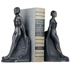 Nude Woman On Seashell Bookends, Cast Iron Erotic Art Deco Female Book Ends NEW