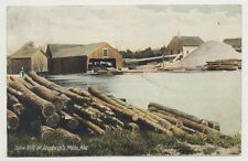 Old undivided back postcard SAW MILL AT GOODWIN'S MILLS, MAINE, mailed in 1907