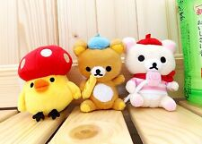 "San-X  Rilakkuma+Korilakkum+Chick  4"" Cute Mascot Plush Doll W/Chain - 3 Pcs Set"