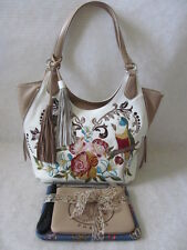 SHARIF WHITE FLOWER & PARROT LEATHER EMBROIDERED SHOULDER BAG PURSE - NWT