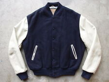 Vintage 90s Golden Bear Varsity Jacket Size L Made in USA Wool Leather Football