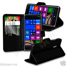 Carbon Fibre Wallet Flip Case Cover, Screen Guard For Nokia Lumia 830