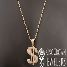 ICY 14K ROSE GOLD FINISH MINI DOLLAR SIGN MONEY CHARM PENDANT CHAIN NECKLACE SET