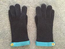 New (no tags) Authentic Coach Navy Wool and Teal Leather Gloves Size M/L