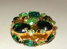 "MINT CONDITION - 2"" GOLD TONE BROOCH WITH SIMULATED EMERALD & PERIDOT - JULIANA?"