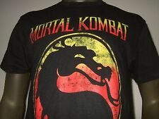 New Mens Medium Black Mortal Kombat Sega Fight Video Game Dragon Graphic T Shirt