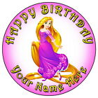 "DISNEY PRINCESS RAPUNZEL PARTY- 7.5"" PERSONALISED ROUND EDIBLE ICING CAKE TOPPER"
