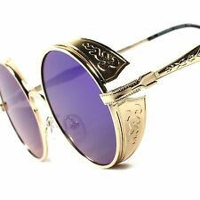 Round Side Shield Retro Gothic Steampunk Style Gold Green Mirror Lens Sunglasses