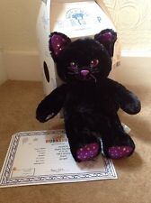 BNWT Build A Bear BAB Halloween Night Sky Kitty black Cat Box Certificate