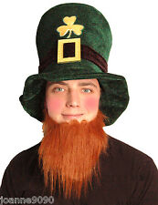 Green Irish Hat with Ginger Beard Leprechaun St Patricks Day Fancy Dress Costume