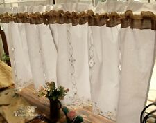 PAIR(2) Shabby Rustic Chic Burlap Window Cafe Curtains HAND Ribbon Lace Ruffled!