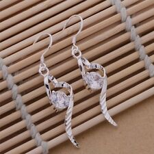 Ladies 925 Sterling Silver Sweeping Heart Crystal Fashion Casual Drop Earrings