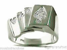 Mens Diamond Ring Sterling Silver or Gold Plated Silver LUCKY ROYAL FLUSH POKER
