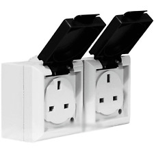 IP54 RATED 13APM 2 GANG DOUBLE SOCKET EXTERNAL OUTSIDE DOUBLE MAINS ELECTRICAL