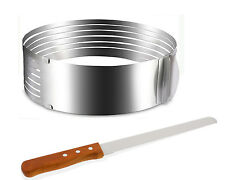 Adjustable Stainless Steel Layer Cake Mousse Mould Slicer Ring Form with Knife